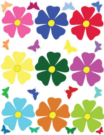 flower and the butterfly vector Illustration