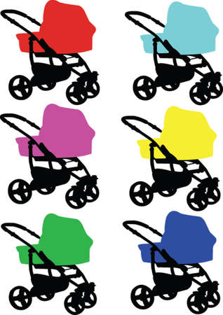 baby carriage in color Illustration