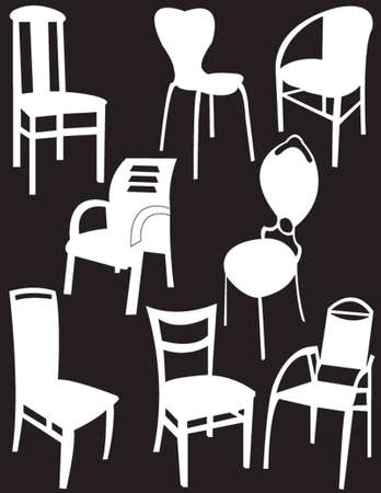 chairs collection - vector Illustration