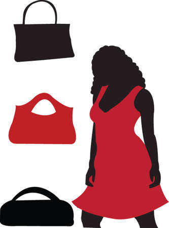 girl and handbags - vector