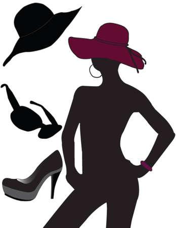 filles, des lunettes de soleil, des chaussures, hat - vecteur