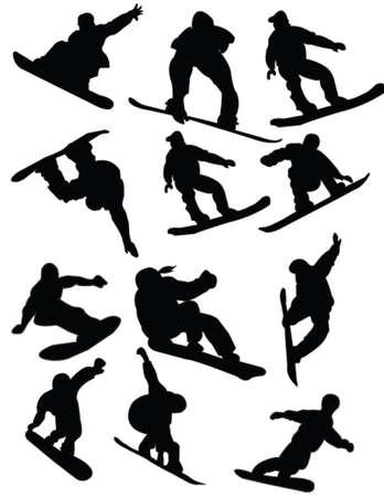snowboard: snowboarding - vector