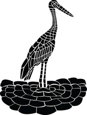 wader: stork - vector