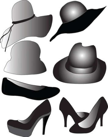lady s: hat and shoes - vector