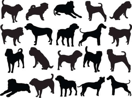 dogs silhouette - vector Vector