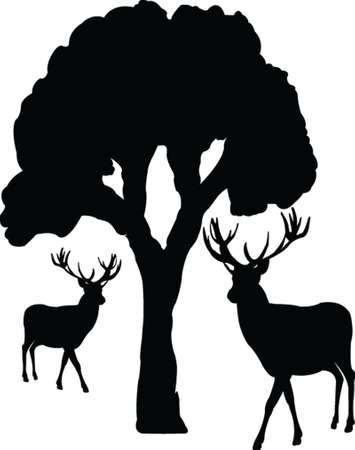 silhouette contour: tree and deer - vector Illustration
