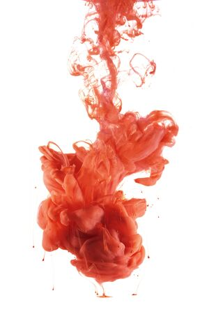 Liquid color drop in dynamic flow creating interesting and unique artistic design. Colorful ink drop mixing under water.