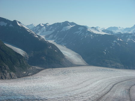 fro: Steep Glacier in Alaska  Tracks are natural formations