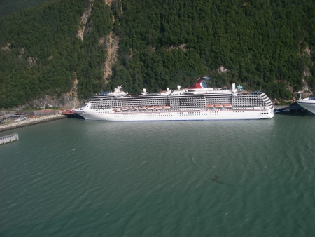 Tourist ship in Alaska viewed from helicopter