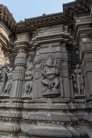 Hemadpanti shiva temple, the 11th century temple is built of stone in Hemadpanthi style during the Kalyani-Chalukya era. Hottal, Maharashtra, India