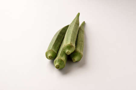 Lady finger (okra) group on white background