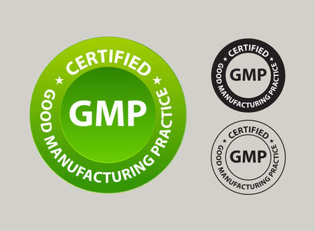 good manufacturing practice, GMP certified. vector illustration, green colored, outlined