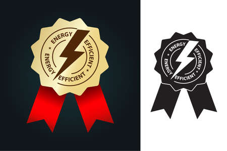 energy efficient icon in golden badge with red ribbon vector illustration