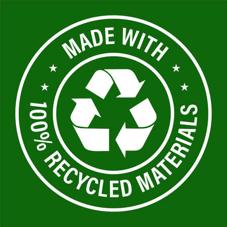 made with 100% recycled materials, green background
