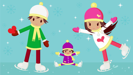 little skate: Vector illustration of young boy and girl in love, and a little child wondering how the girl can skate so beautiful. The boy is carrying a red heart for his love.