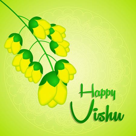 Vector of beautiful vishukani flower card for vishu festival.