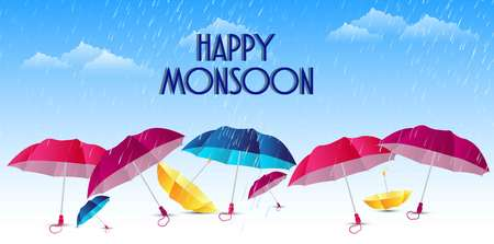 Abstract, banner or poster for Happy Monsoon with nice and creative design illustration.