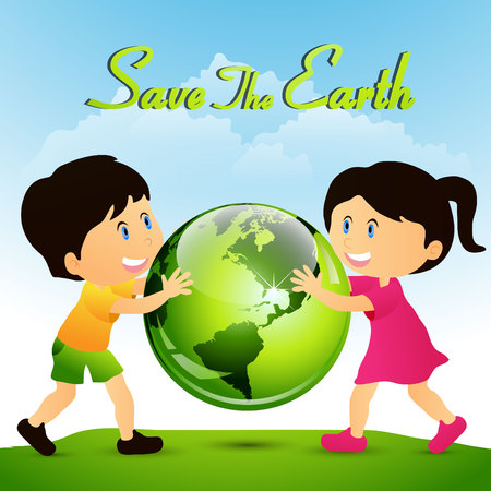 Earth Day. Eco friendly ecology concept. Flat Vector illustration. Earth day flat concept. World environment day background. Save the earth. Reklamní fotografie - 97069612