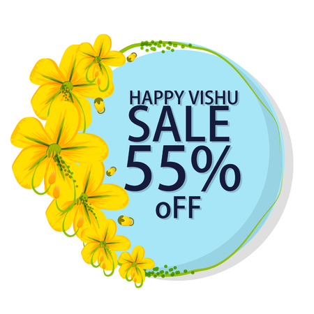 Stock vector hermosa tarjeta de flor de vishukani para vishu festival