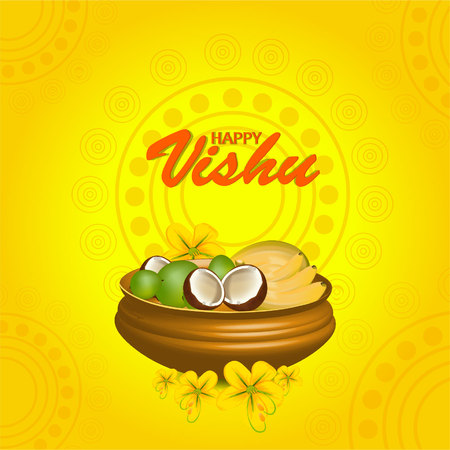 Stock vector beautiful vishukani flower card for vishu festival