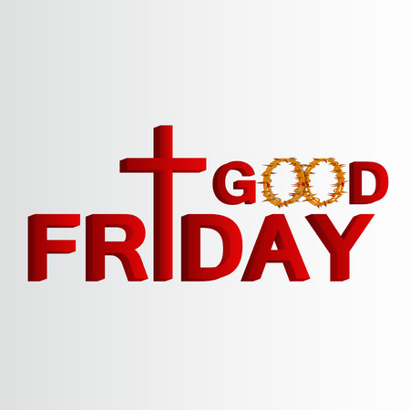 Good Friday lettering with cross. Vector illustration of Jesus Christ's crucifixion and Resurrection.
