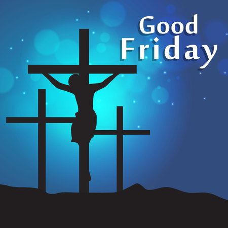 Good Friday & Easter day. Vector illustration of Jesus Christ's crucifixion and Resurrection. Vettoriali