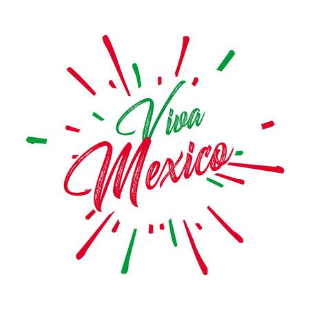Illustrazione vettoriale creativa di Viva Mexico, tradizionale vacanza con frase messicana, lettering illustrazione vettoriale