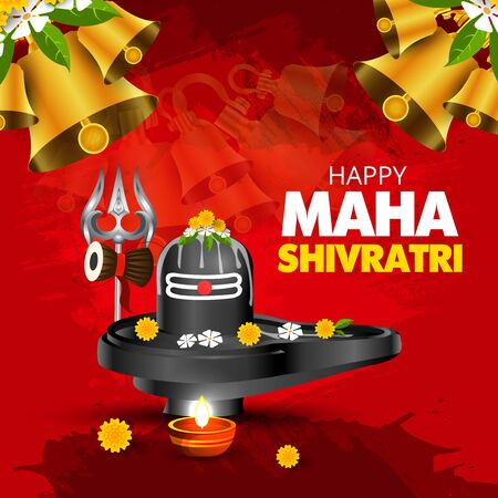 illustration of Maha Shivratri, a Hindu festival celebrated of Shiva Lord - Vector Ilustração