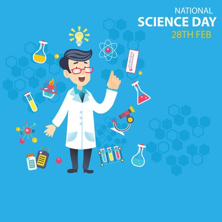 National Science Day is celebrated to commemorate discovery of the Raman Effect, Science Day. Scientific laboratory in flat line style