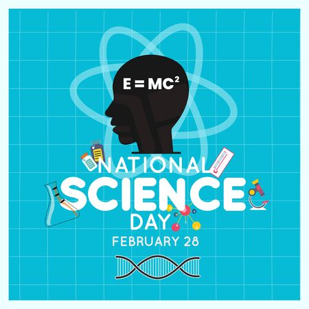 National Science Day is celebrated to commemorate discovery of the 'Raman Effect', Science Day. Scientific laboratory in flat line style