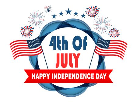 4th of July poster template.USA independence day celebration with American flag.USA 4 th of July promotion advertising banner template for Brochures,Poster or Banner.Vector illustration 向量圖像