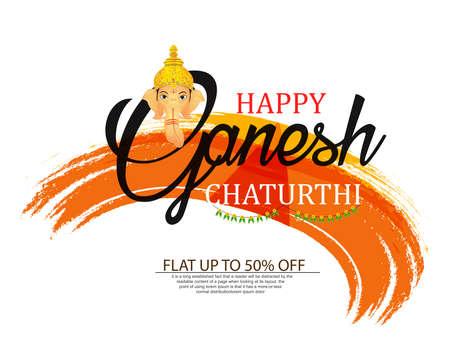 Creative vector illustration of Lord Ganesha in paint style with message Shri Ganeshaye Namah ( Prayer to Lord Ganesha) Vektorové ilustrace