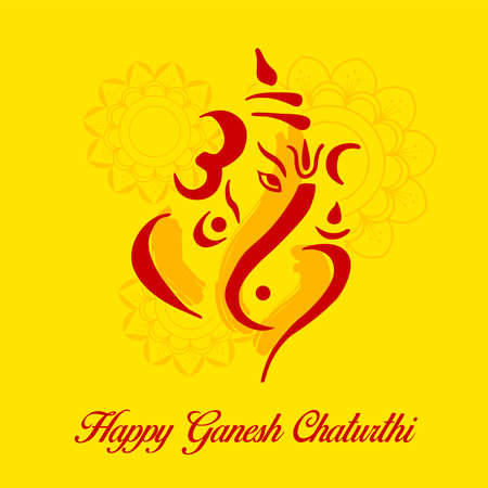 Creative vector illustration of Lord Ganesha in paint style with message Shri Ganeshaye Namah ( Prayer to Lord Ganesha)