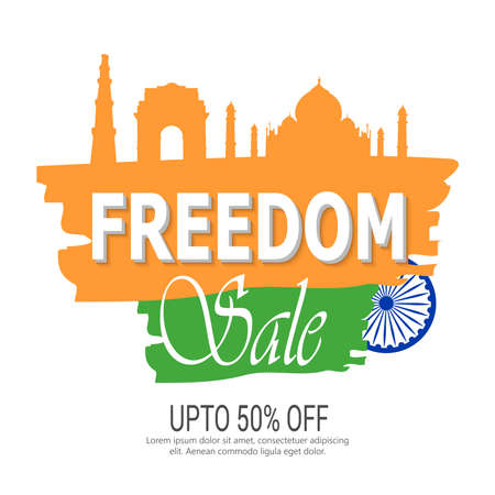 India's Biggest Sale website banner or poster design with illustration  for Independence Day.