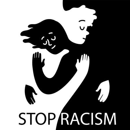 Stop racism icon. Motivational poster against racism and discrimination. 矢量图像