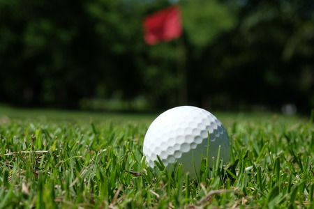 of course: golf-ball on course Stock Photo
