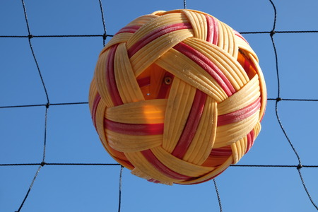 Sepak takraw ball and the net