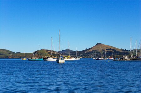Yachts anchoring in Deborah Bay near Port Chalmers, Otago Peninsula with Harbour Cone hill in the background, Dunedin, New Zealand photo