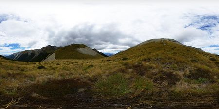 equirectangular: Cass Saddle, Arthurs Pass national park, Craigieburn Forest park, Southern Alps, New Zealand, full spheric panorama (360x180 degrees), equirectangular projection