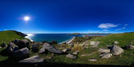 equirectangular: Heyward track, closer view at Aramoana mole and Tairoa Head with lighthouse and albatross colony, entry to Otago Harbour, Dunedin, New Zealand, full spheric panorama (360x180 degrees), equirectangular projection Stock Photo