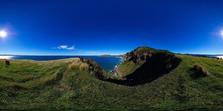 equirectangular: Heyward point, distant view at Aramoana mole and Tairoa Head with lighthouse and albatross colony, entry to Otago Harbour, Dunedin, New Zealand, full spheric panorama (360x180 degrees), equirectangular projection