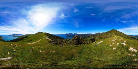 french way: View point on the way to French Pass, Marlborough Sounds, New Zealand, full spheric panorama (360x180 degrees), equirectangular projection
