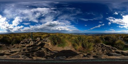 equirectangular: Top of Flagstaff Hill, 666 metres above sea level, view at Silver Peaks and Dunedin, New Zealand, full spheric panorama (360x180 degrees), equirectangular projection