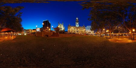 equirectangular: Octagon at night, the very centre of Dunedin with mixture of modern and historical architecture, library, city council, St Pauls cathedral, art gallery, Robert Burns statue, New Zealand, full spheric panorama (360x180 degrees), equirectangular projection