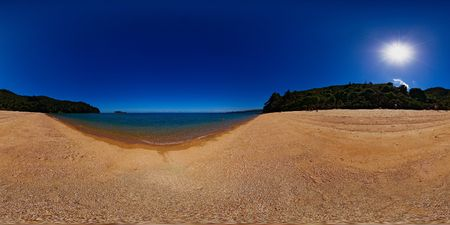 equirectangular: Georges day on the beach in Coquille Bay, Abel Tasman national park, New Zealand, full spheric panorama (360x180 degrees), equirectangular projection