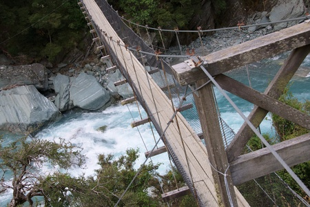 Detail of wire-bridge over Matukituki River rapids, by Rob Roy Glacier turn-off, Mount Aspiring National Park, New Zealand photo