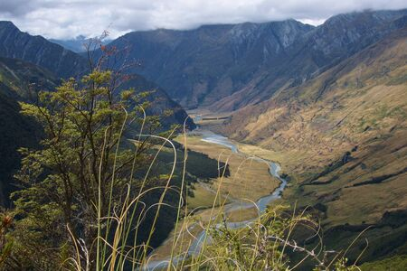 aspiring: Lookout point on the way to Cascade Saddle, looking down at Matukituki River downstream towards the car park, Mount Aspiring National Park, New Zealand