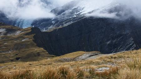 dropoff: Closer look at Cascade Saddle, Dart Glacier in background, Mount Aspiring National Park, New Zealand