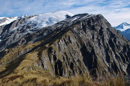 dropoff: Near vertical drop-off in Cascade Saddle, Plunket Dome (2191m), Reid Glacier, Mount Aspiring (3033m), Mount Aspiring National Park, New Zealand