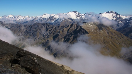 aspiring: Rees Valley, Mount Cunningham (1963m), and Snowdrift Range in background, Mount Aspiring National Park, New Zealand